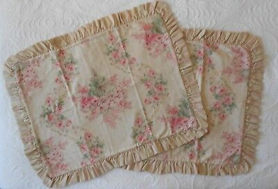 *****vintage Pair Of Tommy Hilfiger Shams - Pink Flowers-Ruffle-Great Condition*