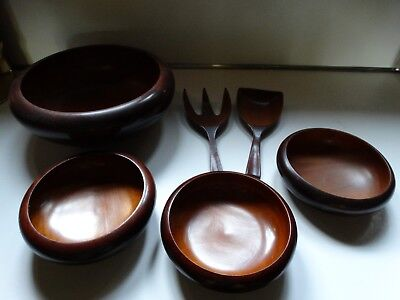 Lot Vintage Solid Mahogany  Hand Made Bowls With Salad Fork Spoon Acid Resistant