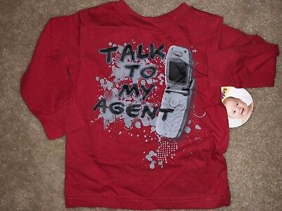 Baby Boys New Nwt Size 6-9 Months Red Long Sleeve Shirt Top Talk To My Agent Fun