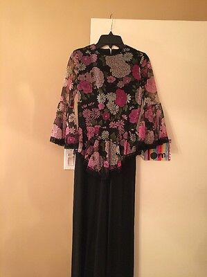Vintage Saks Young Dimensions  1970's Floral Maxi Dress Size XS