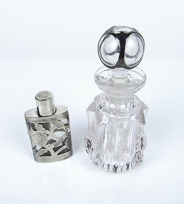 2 Antique Sterling Silver Overlay Clear Glass Perfume Bottle Deco Mexico 925 Lot