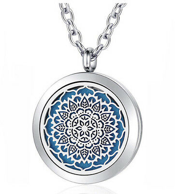 Sacred Lotus Mandala, Diffuser Necklace Locket Stainless Still 10ml Oil 11 pads