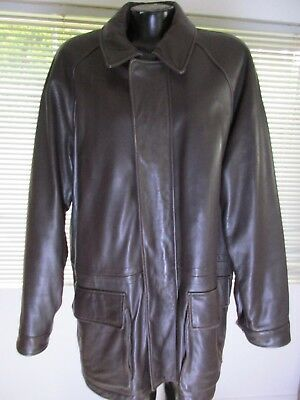 Marc New York Andrew Marc Mens Long Soft Leather Coat Brown Lined Large