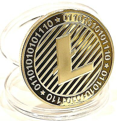 LITECOIN! (5) Coin Lot Gold Plated Commemorative Litecoin in .999 Fine Gold!