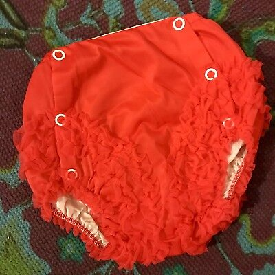 LOVE'S '60s Vintage Baby Girls' Red Tulle Ruffled Plastic Lined Diaper Cover 6M