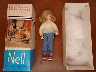 """Vintage 1981 Norman Rockwell Collector's Character NELL 10"""" Doll from 1948 Post"""
