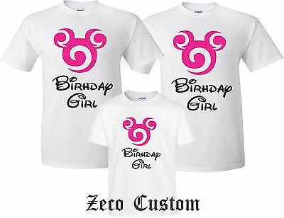 Happy Birthday GIRL T SHIRT Girl Disney Family Mickey Minnie MOM DAD