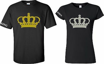 94ad743b King and Queen Couple Matching Love T-Shirt he's,she's BIG CROWN New Cool