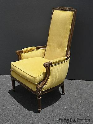 Vintage French Provincial Carved Wood Yellow Velvet Tallback Accent Chair