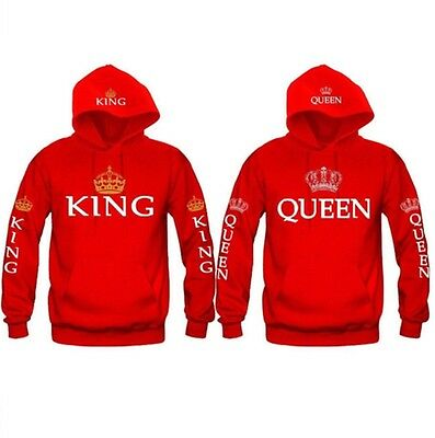 King And Queen Hoodies   New Multi Colors Matching Cute Love Couples