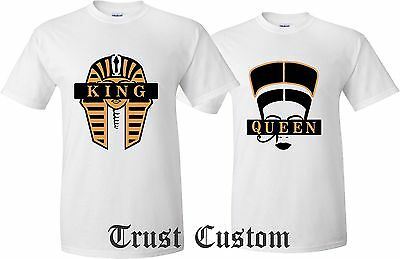 Couple Matching Love T-Shirts - King And Queen - His and Her Cleopatra Egyptians
