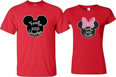 d6d5ff9f7f FAMILY VACATION Disney New 2019 Mickey & Minnie T-Shirts Her His nice head  pink