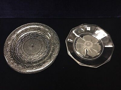 Two Glass Plates One Stamped U With Sticker & One Decorated In Scroll Pattern