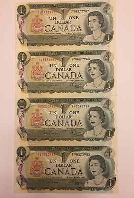 Lot Of 4 1973 Canadian $1 Bills UNCIRCULATED and CONSECUTIVE