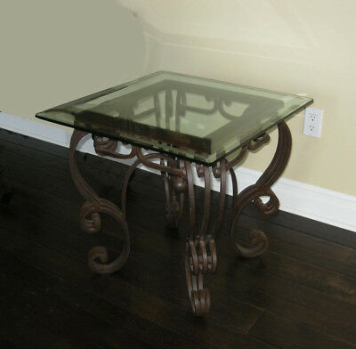 Vintage Spanish Style Ornate Wrought Iron Glass Top End Table