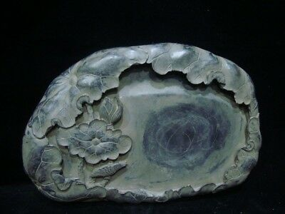 """Antique Chinese Hand Carving InkStone """"Duan"""" InkSlab Marked """"CaiYu"""""""