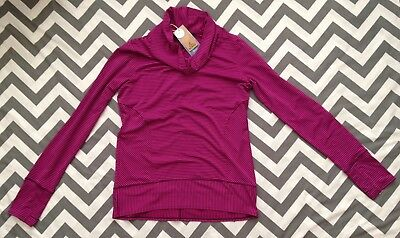 New Women's prAna Marin Pullover L/S Size Medium Plum Stripe Cowl Neck Yoga Top