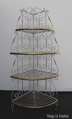 Vintage French Country White Wrought Iron and Brass BAKERS RACK Corner Shelf