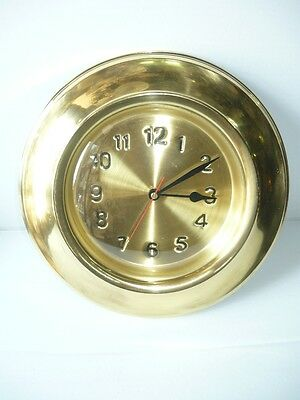 Wall Clock Brass Polished Fire Pit with Quartz Movement