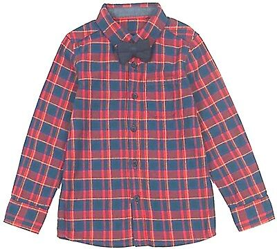 M&S Baby Boys Checked SHIRT with BOW TIE Pure Cotton RED BLUE Long Sleeve Top