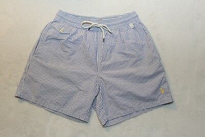 Mens Ralph Lauren Blue and White Striped Swimming Shorts Medium
