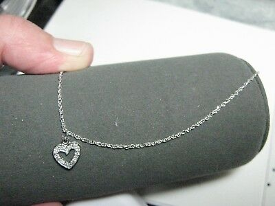 """14k white solid gold 9"""" anklet with diamond heart"""