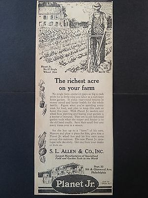 Vintage Print Ad 1924 (X15)~Planet Jr. No.17 Single Wheel Hoe, S.l. Allen & Co.