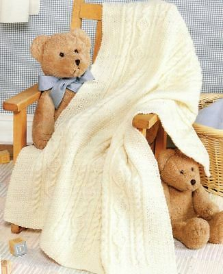 4 Ply Knitting Pattern Baby's Beautiful Irish Cable Baby Blanket (139)