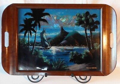 """VINTAGE MORPHO BUTTERFLY WING ART INLAID WOODEN MARQUETRY TRAY 24""""x 18"""""""
