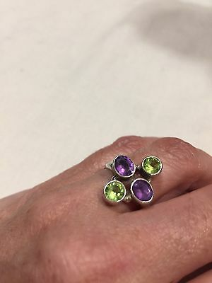 Genuine Green Peridot And Amethyst Vintage 925 Sterling Silver Size 7.5 Ring
