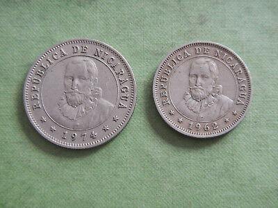 Lot of 2 Nicaragua coins - 25 (1974) & 10 centavos (1962)