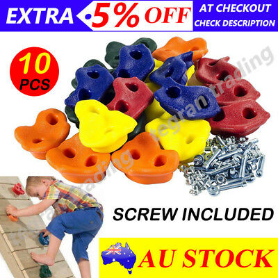 10x Textured Climbing Rock Wall Stones Holds Hand Feet Starter Kit Mix Color AU