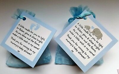 Baby Shower Scented Candle Favours 10 Pack - Boy Blue Gift Box Thank You