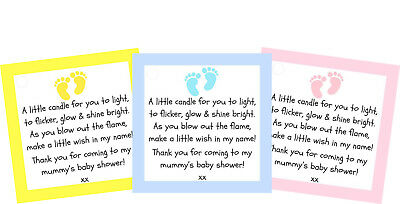 Baby Shower Candle Labels / Tags Favour -  Thank You Gifts Boy Girl