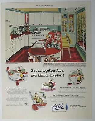 1946 American Gas Association Print Ad Mid-Century Interior Kitchen Appliances