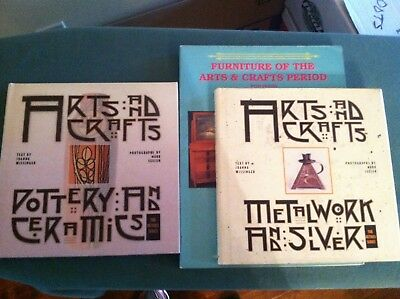 3 Arts & Crafts Books Pottery, Metalware and Furniture Stickley, Roycroft, Teco