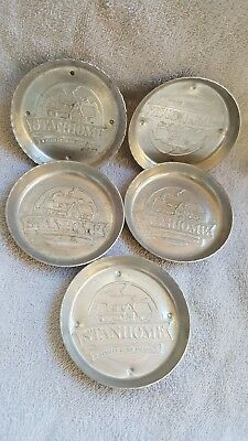 5 Stanhome Stanley Home Products Aluminum Coasters   Vintage