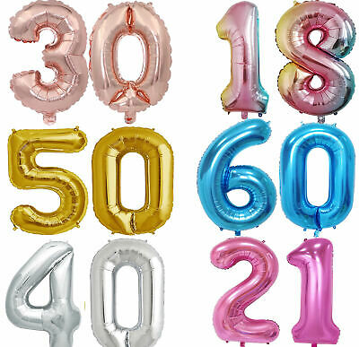 Giant Age 1st/16/18/21/30/40/50/60/70/80th Birthday Foil Balloon Party Number