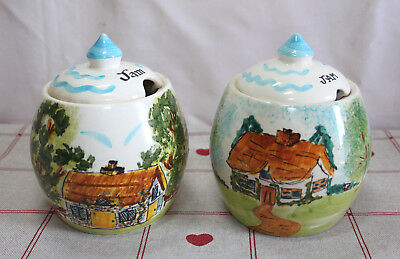 Set of Two Toni Raymond Vintage Hand Painted Jam Pots with Country Cottage Scene