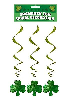 Hanging Irish Shamrock Foil Spiral Decoration St Patricks Day Ireland - 3 Pcs