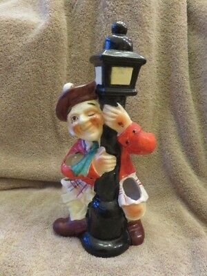 Vintage Mid-Century ceramic Drunk Scottish Man Holding On To A Street Lamp Post