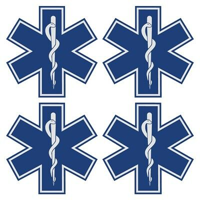 "Star of Life Blue Very Small 1"" Reflective Decal Sticker Sheet of 4"
