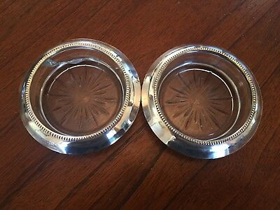 2 Vintage Sterling Silver & Cut Glass Frank M Whiting Coasters (one damaged)