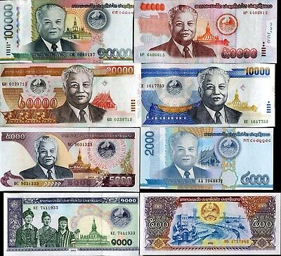 Laos 500 1000 2000 5000 10000 20000 50000 100000 Kip 1998 2011 Set 8 Pcs Unc
