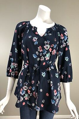 OH Baby By Motherhood Maternity Top Blouse Blue Floral 3/4 Sleeve Sz M