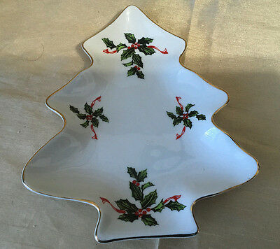 Lefton China Candy Dish Christmas Tree with Holly Hand Painted Gold Trim 03044
