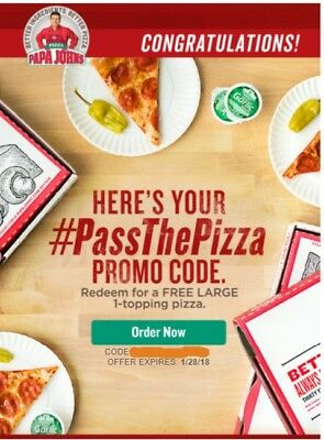Free LARGE 1-topping Papa Johns Pizza Coupon/Promo Code *FREE DELIVERY*