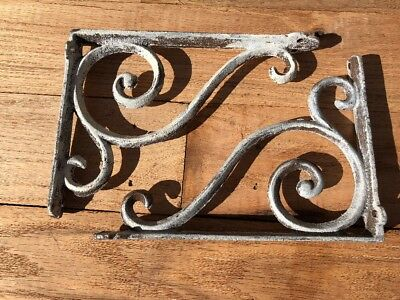 "Pair Of Cast Iron 6.5"" Shelf Brackets Farmhouse DIY Projects"