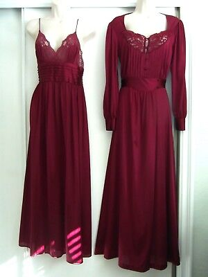 Lily Of France Cranberry Nightgown & Peignoir Set ~ Size Petite