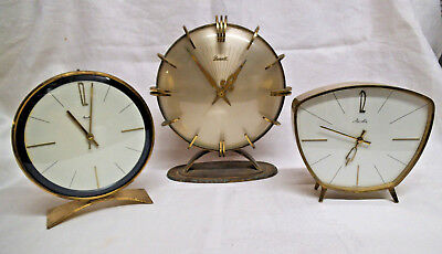 Three Vintage Mantle Clocks - Prescott and Mauthe - Spares or Repair/Restoration